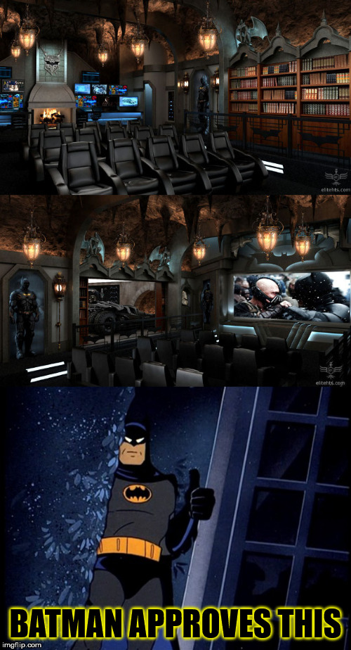 a Good batman Meme i could think of | BATMAN APPROVES THIS | image tagged in batman thumbs up,movie theater,memes,funny,dc comics,batman | made w/ Imgflip meme maker