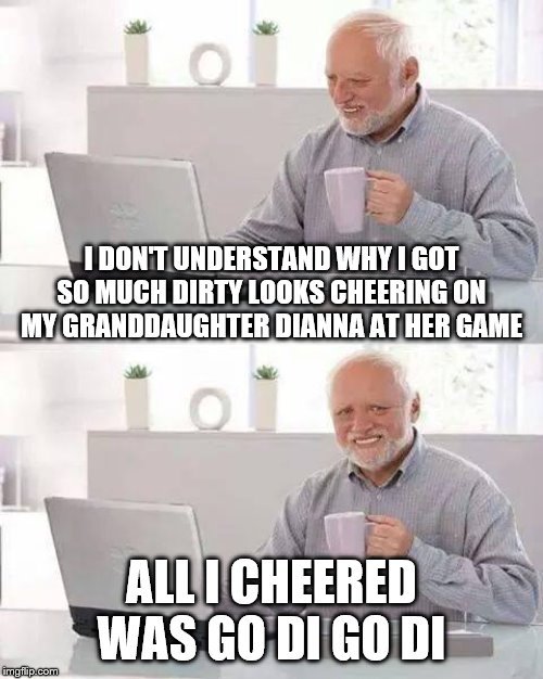 Sometimes you need to think or rethink things over | I DON'T UNDERSTAND WHY I GOT SO MUCH DIRTY LOOKS CHEERING ON MY GRANDDAUGHTER DIANNA AT HER GAME ALL I CHEERED WAS GO DI GO DI | image tagged in memes,hide the pain harold,grandchildren | made w/ Imgflip meme maker