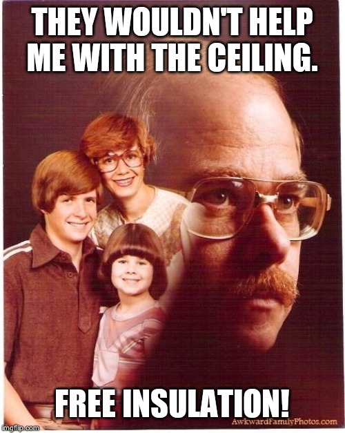 Vengeance Dad | THEY WOULDN'T HELP ME WITH THE CEILING. FREE INSULATION! | image tagged in memes,vengeance dad | made w/ Imgflip meme maker