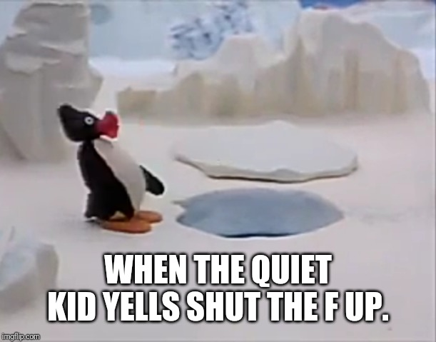 WHEN THE QUIET KID YELLS SHUT THE F UP. | image tagged in oh shit pengu | made w/ Imgflip meme maker