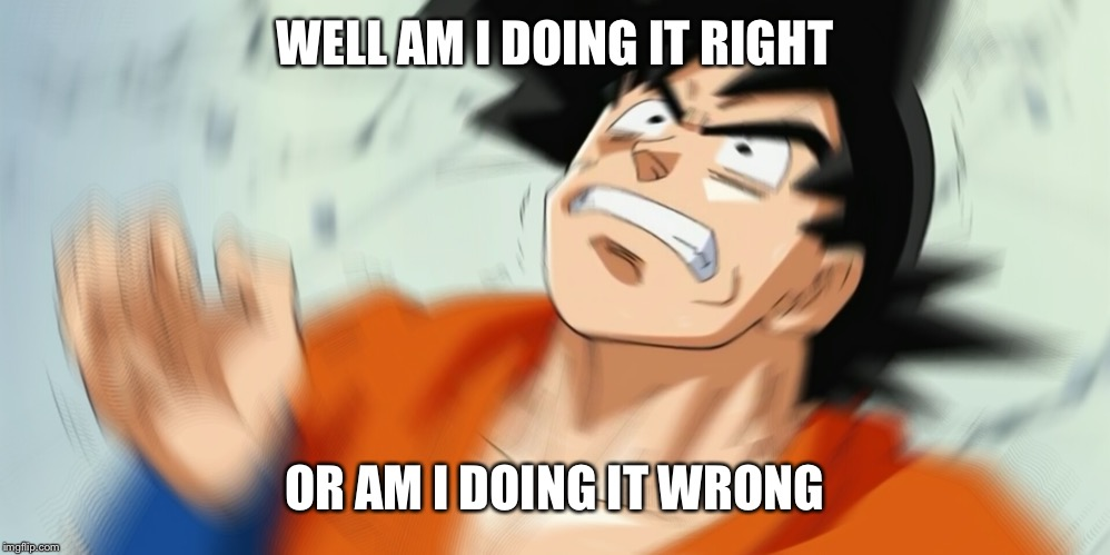 Pissed off goku | WELL AM I DOING IT RIGHT OR AM I DOING IT WRONG | image tagged in pissed off goku | made w/ Imgflip meme maker