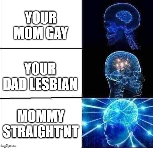 Galaxy Brain (3 brains) | YOUR MOM GAY YOUR DAD LESBIAN MOMMY STRAIGHT'NT | image tagged in galaxy brain 3 brains | made w/ Imgflip meme maker