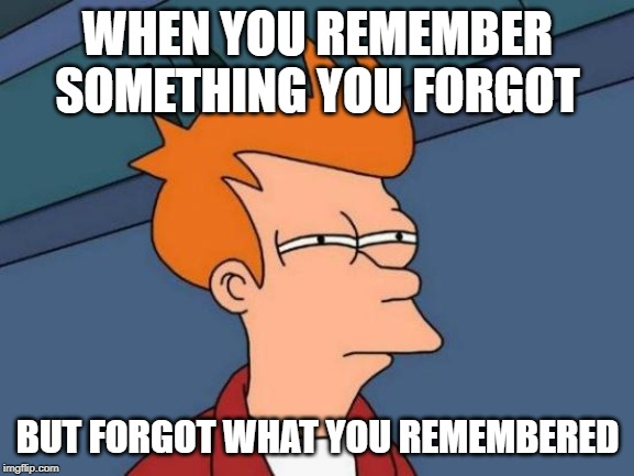 Futurama Fry | WHEN YOU REMEMBER SOMETHING YOU FORGOT BUT FORGOT WHAT YOU REMEMBERED | image tagged in memes,futurama fry | made w/ Imgflip meme maker