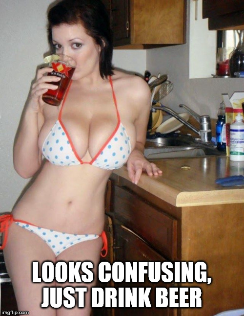 LOOKS CONFUSING, JUST DRINK BEER | image tagged in winter drink | made w/ Imgflip meme maker