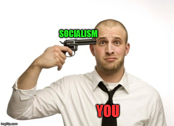 YOU SOCIALISM | image tagged in gun to head | made w/ Imgflip meme maker