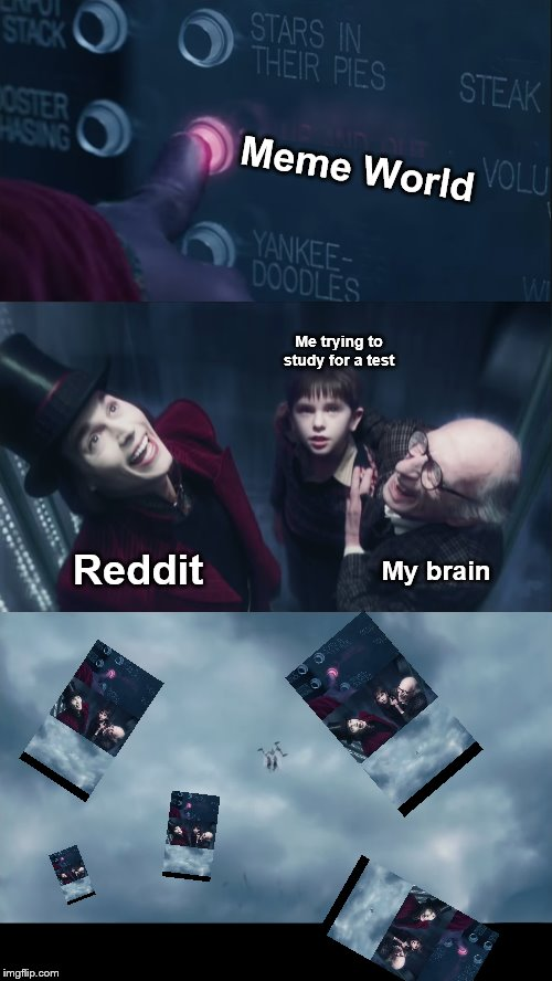 Why reddit why | Meme World My brain Me trying to study for a test Reddit | image tagged in reddit,test,study,studying,brain,memes | made w/ Imgflip meme maker