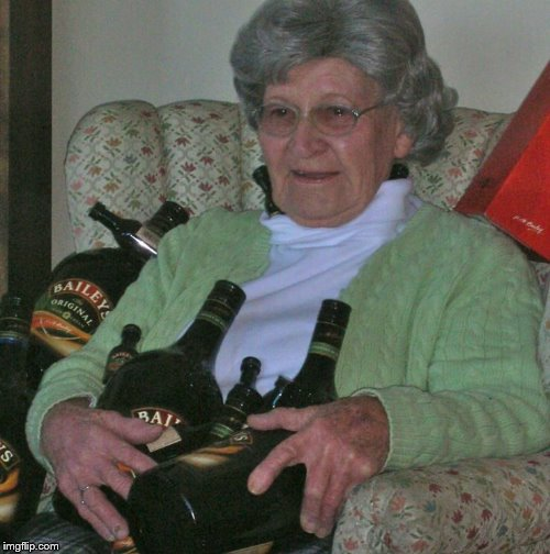 image tagged in old lady with booze bottles | made w/ Imgflip meme maker