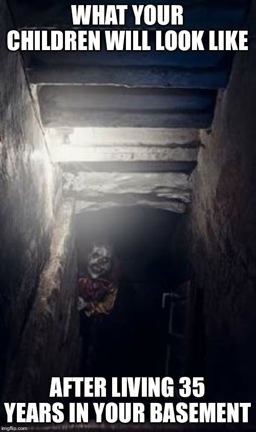 Creepy Clown |  WHAT YOUR CHILDREN WILL LOOK LIKE; AFTER LIVING 35 YEARS IN YOUR BASEMENT | image tagged in creepy clown | made w/ Imgflip meme maker