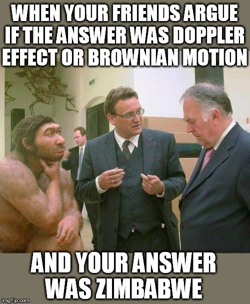 WHEN YOUR FRIENDS ARGUE IF THE ANSWER WAS DOPPLER EFFECT OR BROWNIAN MOTION; AND YOUR ANSWER WAS ZIMBABWE | image tagged in exam,answer,that feeling when,how i feel | made w/ Imgflip meme maker