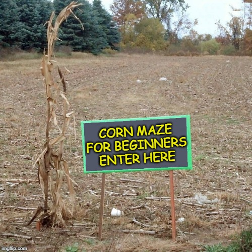 don't get lost | CORN MAZE FOR BEGINNERS ENTER HERE | image tagged in corn maze,beginners | made w/ Imgflip meme maker