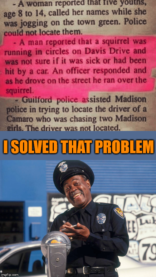 He left that squirrel feeling flat. | I SOLVED THAT PROBLEM | image tagged in squirrel,cops,solution | made w/ Imgflip meme maker