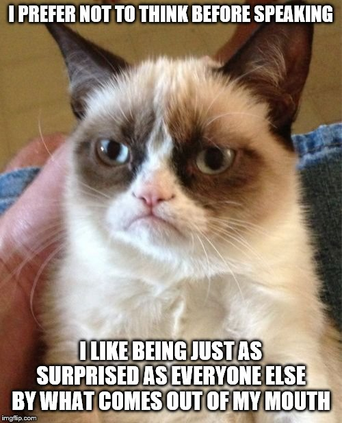 Grumpy Cat | I PREFER NOT TO THINK BEFORE SPEAKING I LIKE BEING JUST AS SURPRISED AS EVERYONE ELSE BY WHAT COMES OUT OF MY MOUTH | image tagged in memes,grumpy cat | made w/ Imgflip meme maker