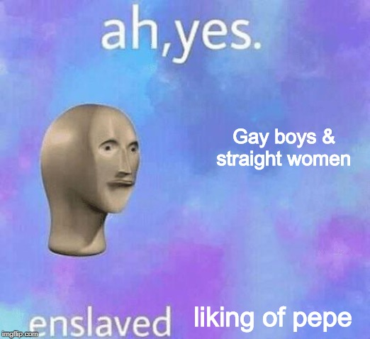 Ah Yes enslaved | Gay boys & straight women liking of pepe | image tagged in ah yes enslaved | made w/ Imgflip meme maker