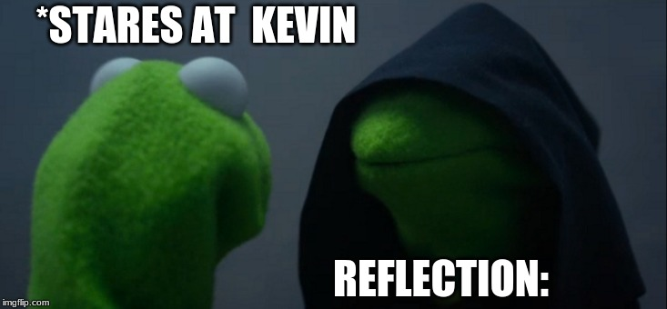 Evil Kermit | *STARES AT  KEVIN REFLECTION: | image tagged in memes,evil kermit | made w/ Imgflip meme maker
