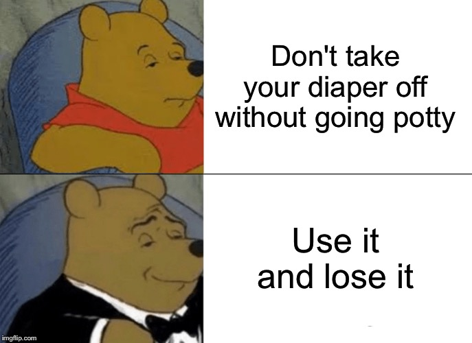 Get them use to that phrase | Don't take your diaper off without going potty Use it and lose it | image tagged in memes,tuxedo winnie the pooh | made w/ Imgflip meme maker