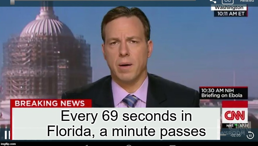 69 seconds in Florida |  Every 69 seconds in Florida, a minute passes | image tagged in cnn breaking news template,funny,memes,time,florida man | made w/ Imgflip meme maker