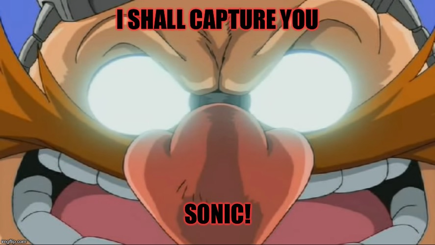 Evil Eggman - Sonic X | I SHALL CAPTURE YOU SONIC! | image tagged in evil eggman - sonic x | made w/ Imgflip meme maker