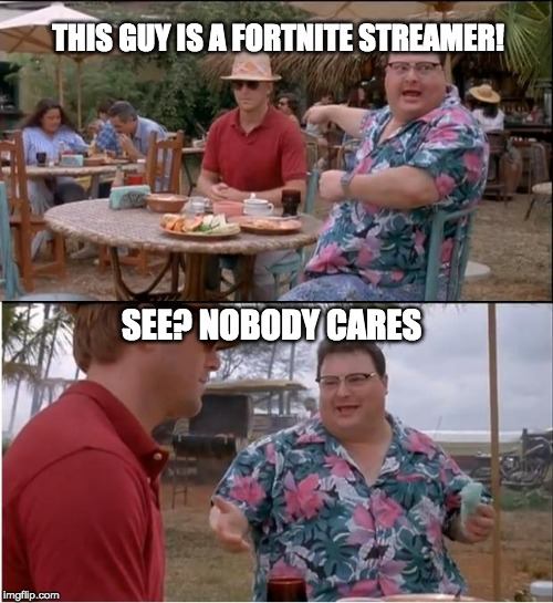 See Nobody Cares | THIS GUY IS A FORTNITE STREAMER! SEE? NOBODY CARES | image tagged in memes,see nobody cares | made w/ Imgflip meme maker