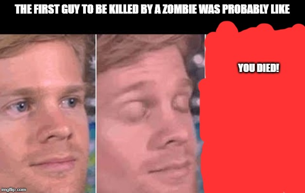 first guy to | THE FIRST GUY TO BE KILLED BY A ZOMBIE WAS PROBABLY LIKE YOU DIED! | image tagged in first guy to | made w/ Imgflip meme maker
