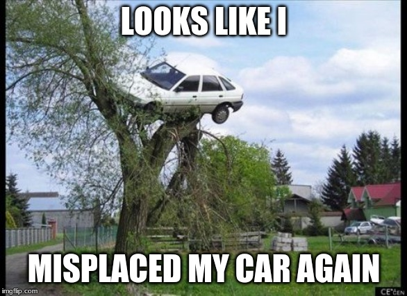 Secure Parking Meme | LOOKS LIKE I MISPLACED MY CAR AGAIN | image tagged in memes,secure parking | made w/ Imgflip meme maker