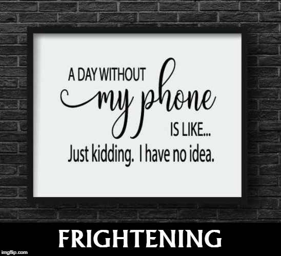 FRIGHTENING | image tagged in phone,addiction,frightened | made w/ Imgflip meme maker