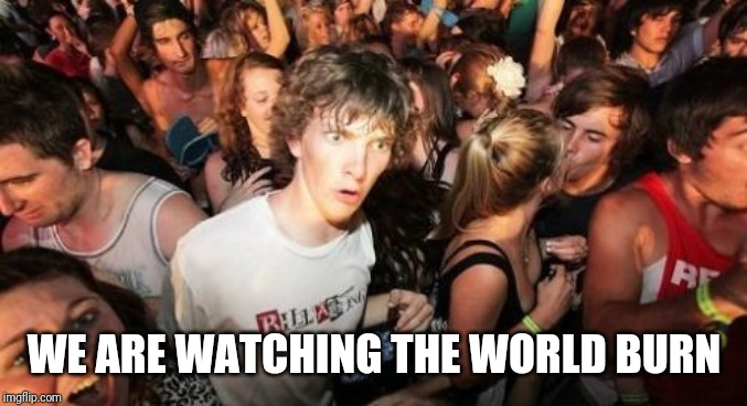 Sudden Clarity Clarence | WE ARE WATCHING THE WORLD BURN | image tagged in memes,sudden clarity clarence,AdviceAnimals | made w/ Imgflip meme maker