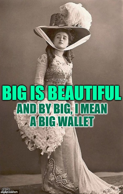 Big is Beautiful |  BIG IS BEAUTIFUL; AND BY BIG, I MEAN A BIG WALLET | image tagged in beautiful vintage old time lady,sassy,funny memes,money,classy,size matters | made w/ Imgflip meme maker