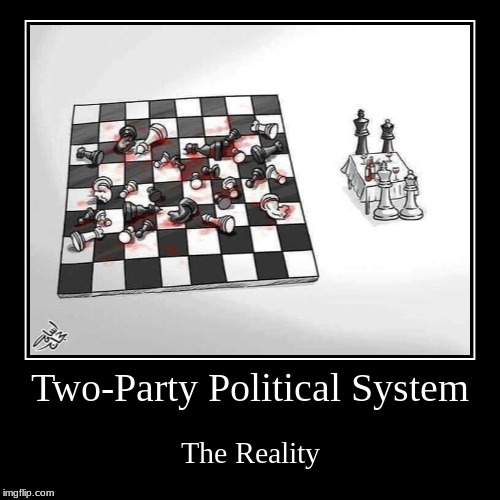 Truth About Political Parties | Two-Party Political System | The Reality | image tagged in funny,demotivationals,libertarian,democrat,republican | made w/ Imgflip demotivational maker