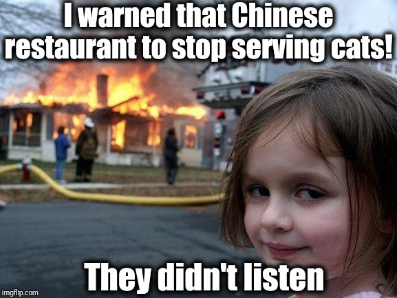 Disaster Girl |  I warned that Chinese restaurant to stop serving cats! They didn't listen | image tagged in memes,disaster girl | made w/ Imgflip meme maker