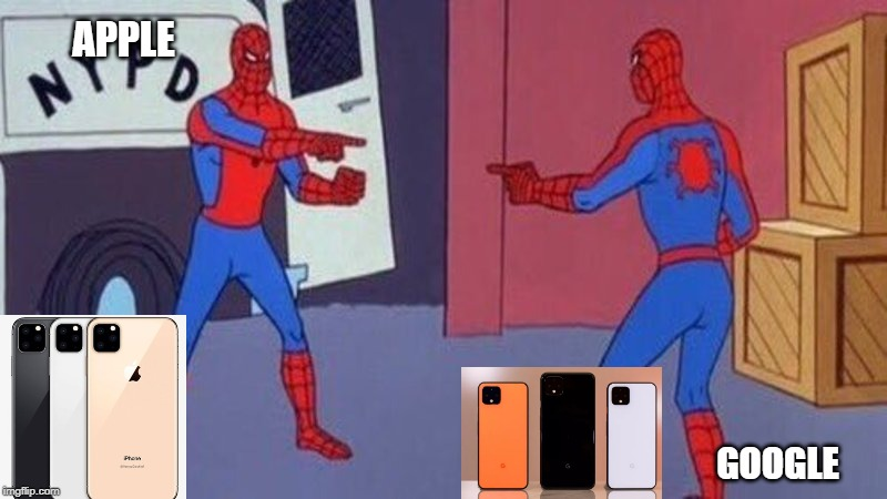 spiderman pointing at spiderman | APPLE GOOGLE | image tagged in spiderman pointing at spiderman | made w/ Imgflip meme maker