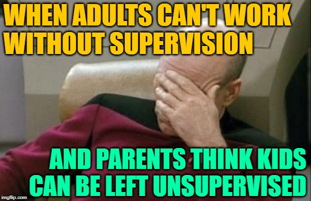 Failure Facepalm |  WHEN ADULTS CAN'T WORK WITHOUT SUPERVISION; AND PARENTS THINK KIDS CAN BE LEFT UNSUPERVISED | image tagged in captain picard facepalm,so true memes,parenting,work,idiocracy,life lessons | made w/ Imgflip meme maker