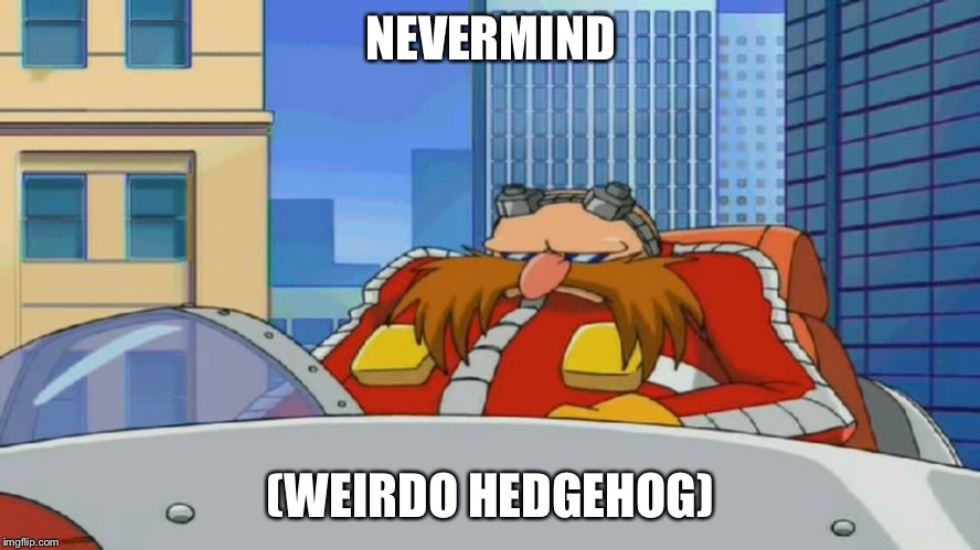 Eggman is Disappointed - Sonic X | NEVERMIND (WEIRDO HEDGEHOG) | image tagged in eggman is disappointed - sonic x | made w/ Imgflip meme maker
