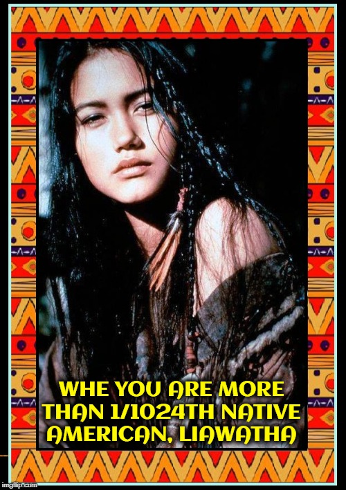 Not from the Tribe of Dances with Soros | WHE YOU ARE MORE THAN 1/1024TH NATIVE AMERICAN, LIAWATHA | image tagged in vince vance,native americans,beautiful girl,brunette,squaw,elizabeth warren | made w/ Imgflip meme maker