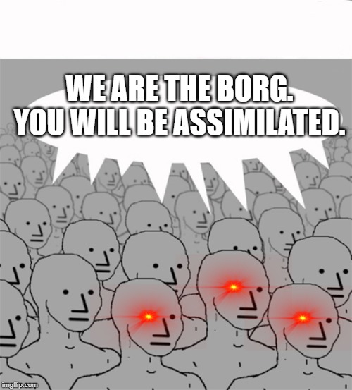 NPCProgramScreed | WE ARE THE BORG. YOU WILL BE ASSIMILATED. | image tagged in npcprogramscreed,npc,memes,the borg | made w/ Imgflip meme maker