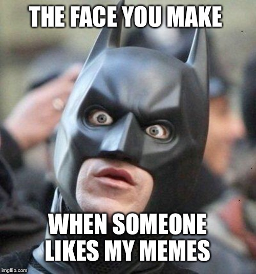 Shocked Batman |  THE FACE YOU MAKE; WHEN SOMEONE LIKES MY MEMES | image tagged in shocked batman | made w/ Imgflip meme maker