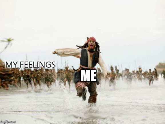 Jack Sparrow Being Chased | MY FEELINGS ME | image tagged in memes,jack sparrow being chased | made w/ Imgflip meme maker