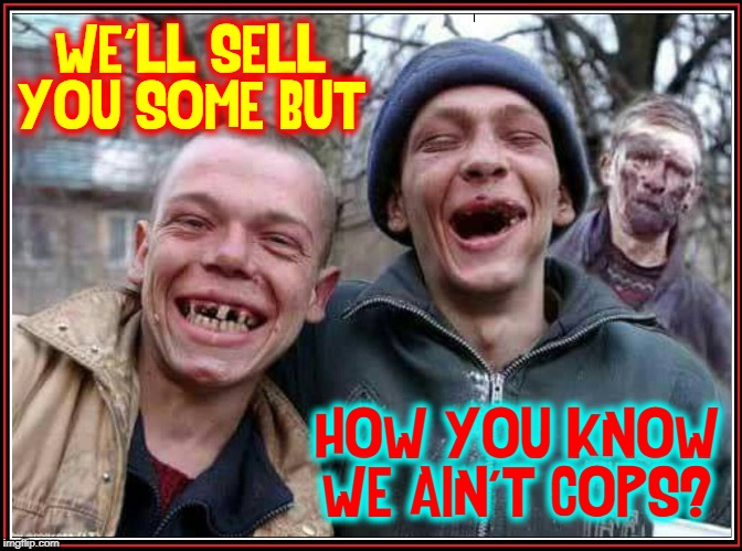 If your dealer's got teeth, it's the police! |  WE'LL SELL YOU SOME BUT; HOW YOU KNOW WE AIN'T COPS? | image tagged in vince vance,drug dealer,methed up,police,cops,drug addiction | made w/ Imgflip meme maker