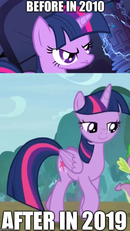Evolution of Twilight sparkle | BEFORE IN 2010 AFTER IN 2019 | image tagged in 2019,mlp fim,twilight sparkle | made w/ Imgflip meme maker