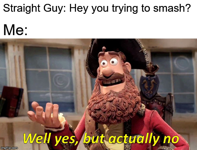 Well Yes, But Actually No | Straight Guy: Hey you trying to smash? Me: | image tagged in memes,well yes but actually no | made w/ Imgflip meme maker