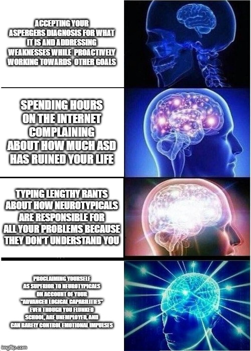 "Expanding Brain Meme |  ACCEPTING YOUR ASPERGERS DIAGNOSIS FOR WHAT IT IS AND ADDRESSING WEAKNESSES WHILE  PROACTIVELY WORKING TOWARDS  OTHER GOALS; SPENDING HOURS ON THE INTERNET COMPLAINING ABOUT HOW MUCH ASD HAS RUINED YOUR LIFE; TYPING LENGTHY RANTS ABOUT HOW NEUROTYPICALS ARE RESPONSIBLE FOR ALL YOUR PROBLEMS BECAUSE THEY DON'T UNDERSTAND YOU; PROCLAIMING YOURSELF AS SUPERIOR TO NEUROTYPICALS ON ACCOUNT OF YOUR ""ADVANCED LOGICAL CAPABILITIES"" EVEN THOUGH YOU FLUNKED SCHOOL, ARE UNEMPLOYED, AND CAN BARELY CONTROL EMOTIONAL IMPULSES 