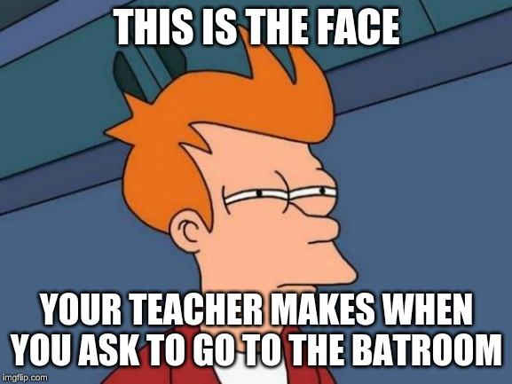 Futurama Fry Meme | THIS IS THE FACE YOUR TEACHER MAKES WHEN YOU ASK TO GO TO THE BATROOM | image tagged in memes,futurama fry | made w/ Imgflip meme maker