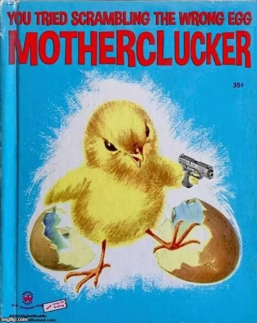 Motherclucker!! | image tagged in egg,chicken,scramble,motherclucker | made w/ Imgflip meme maker