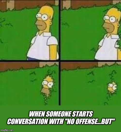 "WHEN SOMEONE STARTS CONVERSATION WITH ""NO OFFENSE...BUT"" 