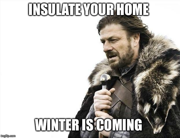 Brace Yourselves X is Coming | INSULATE YOUR HOME WINTER IS COMING | image tagged in memes,brace yourselves x is coming | made w/ Imgflip meme maker