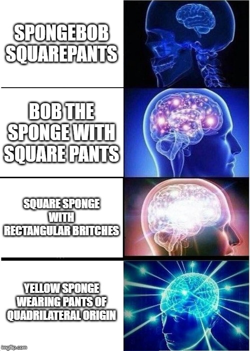 SPONGEBOB | SPONGEBOB SQUAREPANTS BOB THE SPONGE WITH SQUARE PANTS SQUARE SPONGE WITH RECTANGULAR BRITCHES YELLOW SPONGE WEARING PANTS OF QUADRILATERAL  | image tagged in memes,expanding brain,spongebob,spongebob squarepants,funny memes,too funny | made w/ Imgflip meme maker