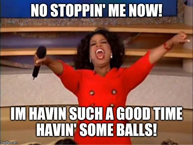 Oprah You Get A | NO STOPPIN' ME NOW! IM HAVIN SUCH A GOOD TIME HAVIN' SOME BALLS! | image tagged in memes,oprah you get a | made w/ Imgflip meme maker