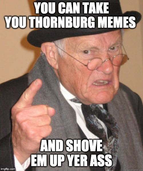 Back In My Day | YOU CAN TAKE YOU THORNBURG MEMES AND SHOVE EM UP YER ASS | image tagged in memes,back in my day | made w/ Imgflip meme maker