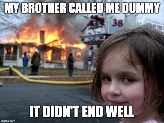 Disaster Girl | MY BROTHER CALLED ME DUMMY IT DIDN'T END WELL | image tagged in memes,disaster girl | made w/ Imgflip meme maker