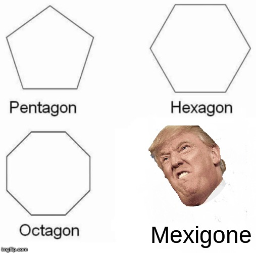Mexico Is Gone |  Mexigone | image tagged in memes,pentagon hexagon octagon,mexico,trump,border wall | made w/ Imgflip meme maker