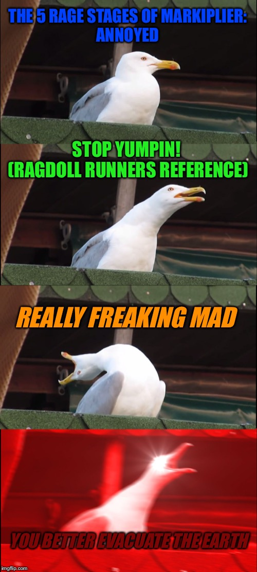 Inhaling Seagull | THE 5 RAGE STAGES OF MARKIPLIER: ANNOYED STOP YUMPIN!  (RAGDOLL RUNNERS REFERENCE) REALLY FREAKING MAD YOU BETTER EVACUATE THE EARTH | image tagged in memes,inhaling seagull | made w/ Imgflip meme maker
